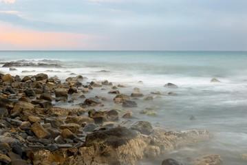 Sea evening landscape. An light storm