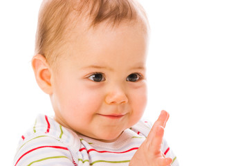 Surprised baby girl closeup portrait
