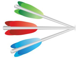 three color arrows in wall