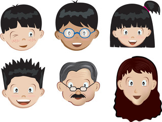 high detailed illustration of faces of a family