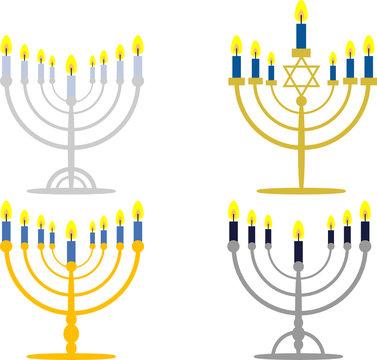 Chanukka: Menora(h) und Kerzen, vierteiliges Set