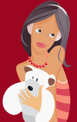vector image of teen with bear-cub