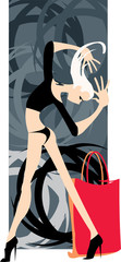 vector image of blonde woman with purchases