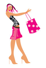 vector image of buyer with pink handbag isolated on white