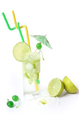 cocktail with green fresh lime