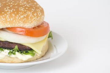 juicy hamburger meat lettuce tomato and onion mayonnaise