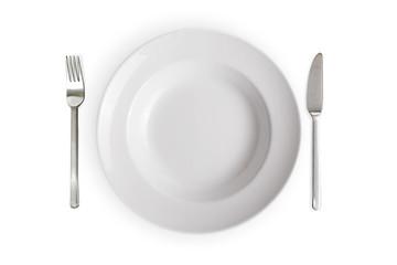 empty white dish isolated on white background