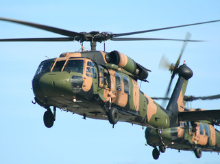 Two Army Blackhawk choppers fly in close formation.