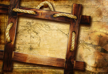 adventure stories - vintage background with frame