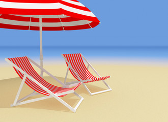 chaises longue and umbrella on the beach