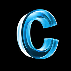 letter C in blue glass 3D