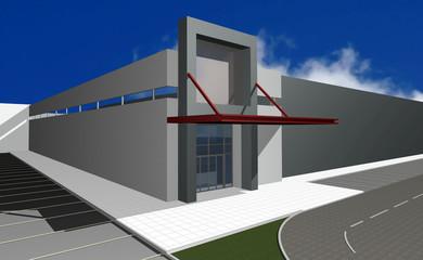 3D render of modern business center over blue sky