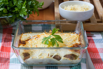 grilled cannelloni with besciamella and grated cheese
