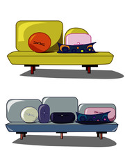Two different abstract stylized sofa
