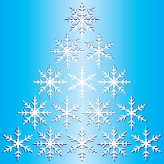 Winter snowflake pyramid gradient blue background.