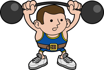 Illustration of male weightlifter