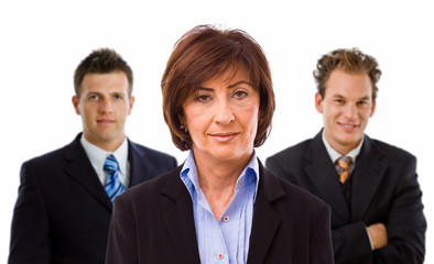 Team portrait of smiling business people, white background.