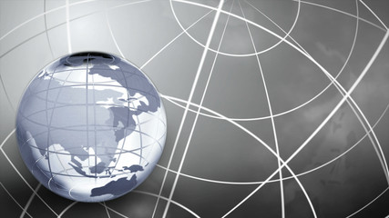 3D Glass Globe in the Colour Grey