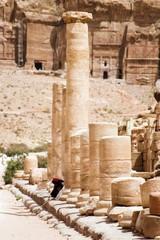 Tourist vacation in nabatean town Petra, beduins , Jordan