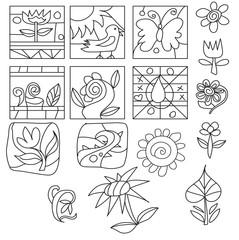 set of black line doodle illustrations on the white background