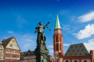 Statue of Lady Justice in Frankfurt's central square