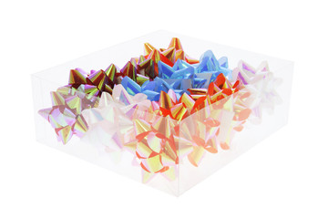 Box of Star Bows on White Background