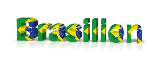brasilien 3d text symbol reflektion