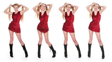 The girl in a red dress on a white background