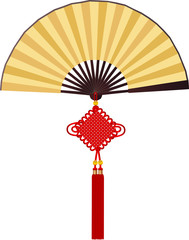 Paper fan with traditional Chinese knotting