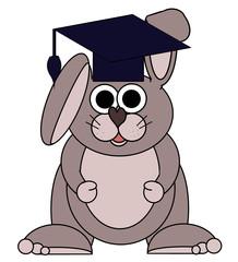 Graduating Bunny Cartoon - Isolated on white