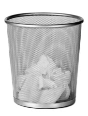Wire metal bin with paper tissues on white background