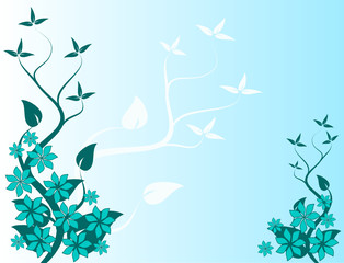Light Blue Abstract Floral Vector Background