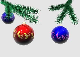 Christbaumschmuck mit Zweigen und Weihnachtskugeln