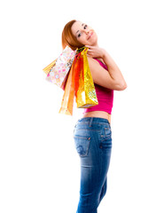 attractive girl  holding in hands multi-coloured bags