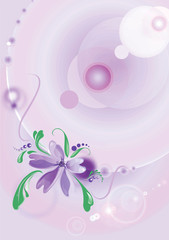 Flower on an abstract lilac background, rasterize vector