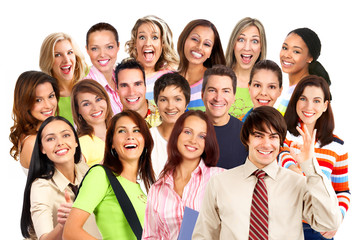 Happy smiling people. Over white background.
