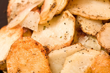 sliced and cooked potatoes for breakfast