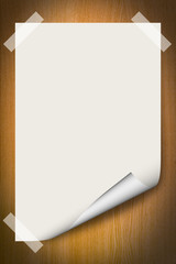 blank paper background with curl on wood