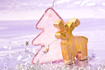 holiday series: christmas golden deer with silver garland