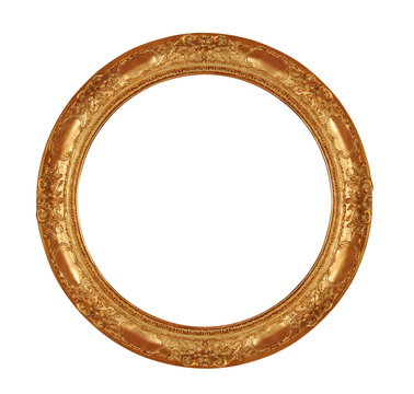 round antique frame with clipping path