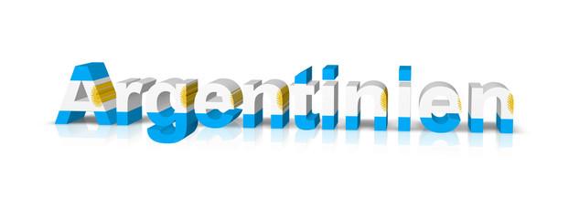 argentinien 3d text symbol reflektion