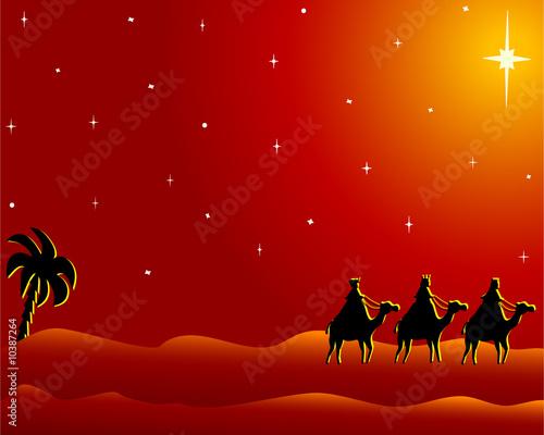 Ver Fotos De Los Reyes Magos De Oriente.Reyes Magos Siguiendo A La Estrella De Oriente Stock Photo
