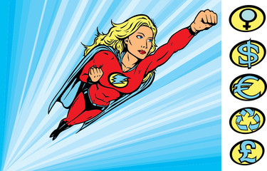 Poster Superheroes Superheroine flying into action