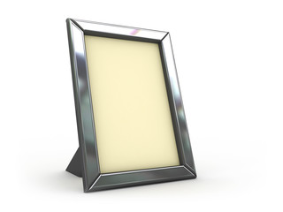 3d illustration of silver frame over white background