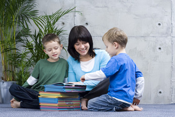 family fun - reading books with mother