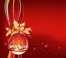 Christmas Ball in red color, vector illustration
