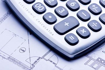 a technical design with a calculator