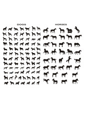 vector silhouettes of dogs and horses - useful collection