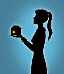 Girl with house model