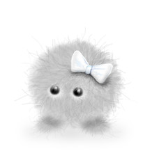 a furry grey creature with white bow